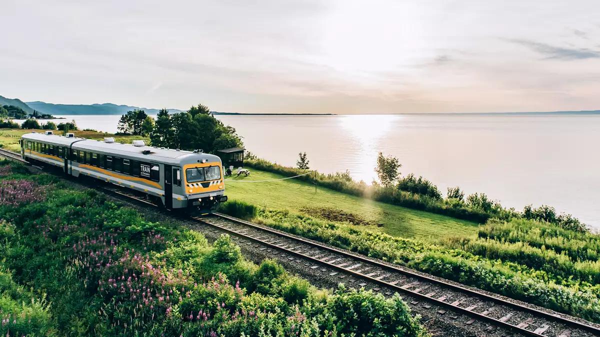 Un train près d'un lac