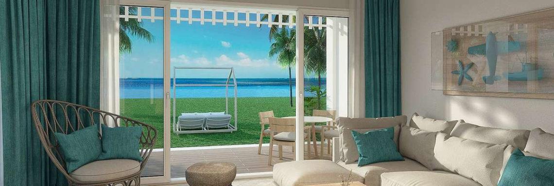 Club Med Punta Cana, en République Dominicaine - Vue de l'intérieure d'une suite faisant face à la mer